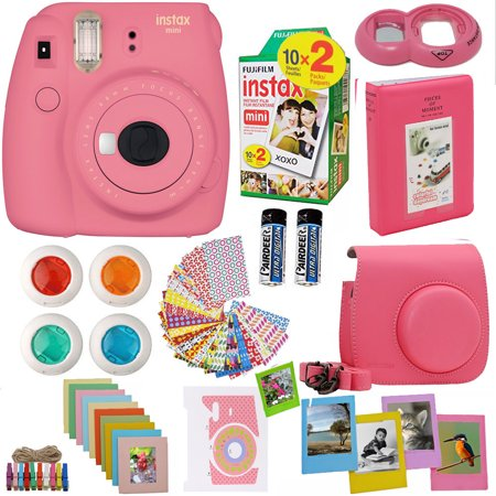 Fujifilm Instax Mini 9 Instant Camera Flamingo Pink + Fuji Instax Film Twin Pack (20PK) + Camera Case + Frames + Photo Album + 4 Color Filters And More Top Accessories