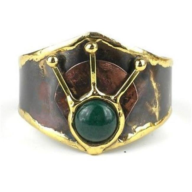 Brass Images Green Stone Rays Brass Cuff