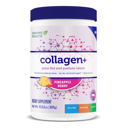 Collagen + Bovine Pineapple Berry Genuine Health 10.62 oz (301g) Powder