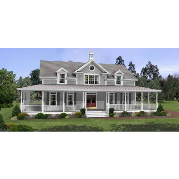TheHouseDesigners-6245 Southern Farm House Plan with Basement Foundation (5 Printed Sets)