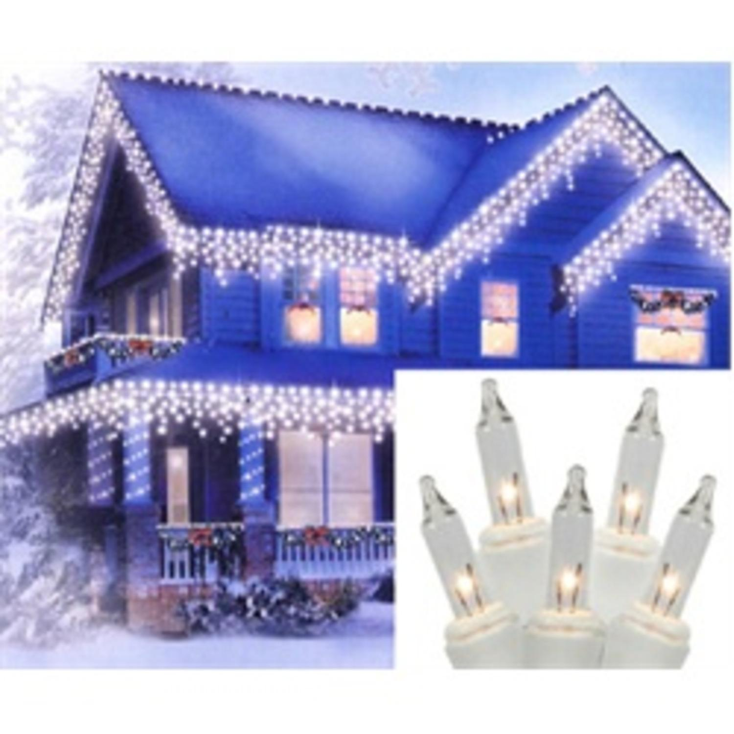 Set of 150 Clear Everglow Twinkle Icicle Christmas Lights - White Wire