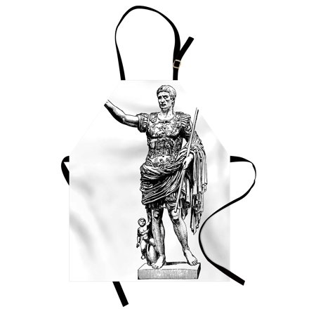Toga Party Apron Antique Statue of Augustus Vintage Ancient Historical King Emperor Figure Print, Unisex Kitchen Bib Apron with Adjustable Neck for Cooking Baking Gardening, Black White, by Ambesonne