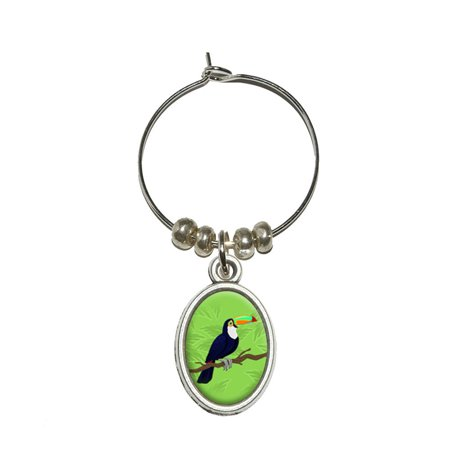 Parrot Wine - Toucan - Jungle Parrot Bird Tropical Oval Wine Glass Charm