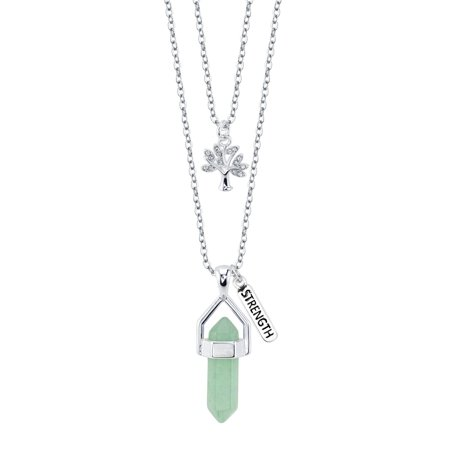 Believe By Brilliance Fine Silver Plated Green Aventurine Two Layer Necklace with