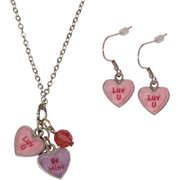 Candy Heart Double Be Mine/Luv U Necklace and Earrings Set