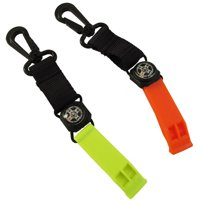 Scuba Diving Mini Compass and Safety Whistle (Orange)