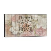"""There is No Place Like Home - Vintage Style Floral Wood Print - 5"""" by 11"""" Key Hanger Rack - Household Decoration with Four Silvertone Hooks"""