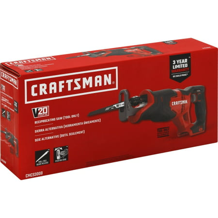 CRAFTSMAN V20 Reciprocating Saw, Cordless, Tool Only (CMCS300B)
