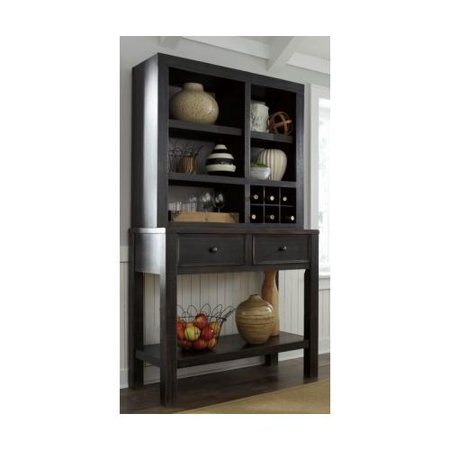 Ashley D5326061 Gavelston Dining Room Server With Hutch Dark Bronze Accent Hardware And Poplar Veneer In