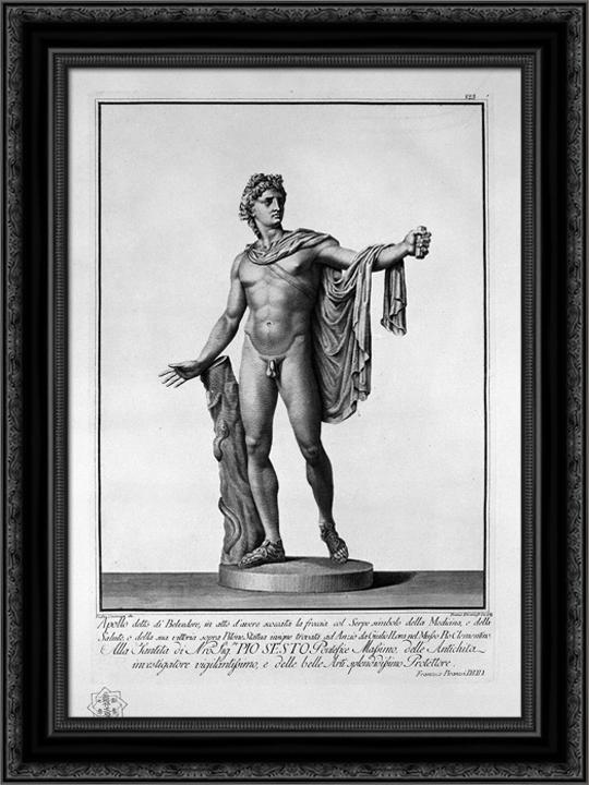 Apollo Belvedere 20x24 Black Ornate Wood Framed Canvas Art by Piranesi, Giovanni Battista by FrameToWall