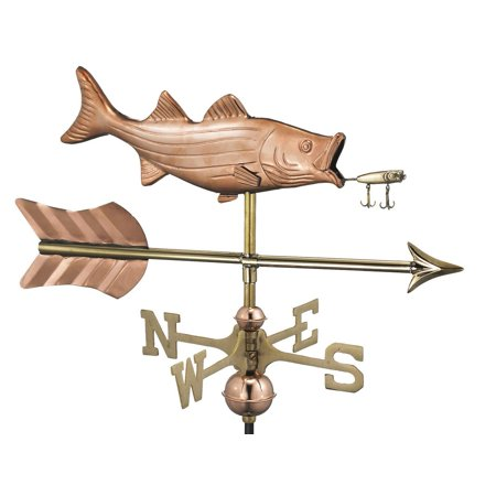 - Bass with Lure and Arrow Garden Weathervane - Pure Copper w/Garden Pole by Good Directions