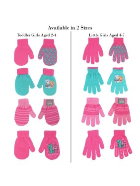 Nickelodeon Paw Patrol 4 Pair Acrylic Gloves or Mittens Cold Weather Set, Little Girls, Age 2-7