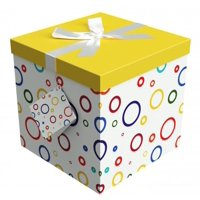 Gift Box 12x12x12 Garnier Pop up in Seconds comes with Decorative Ribbon mounted on the lid A Gift Tag and Tissue Paper - No Glue or Tape Required