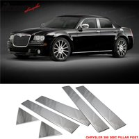 Compatible with 05-10 Chrysler 300 300C Chrome Door Pillar Post Trim 6 Pcs Stainless Steel