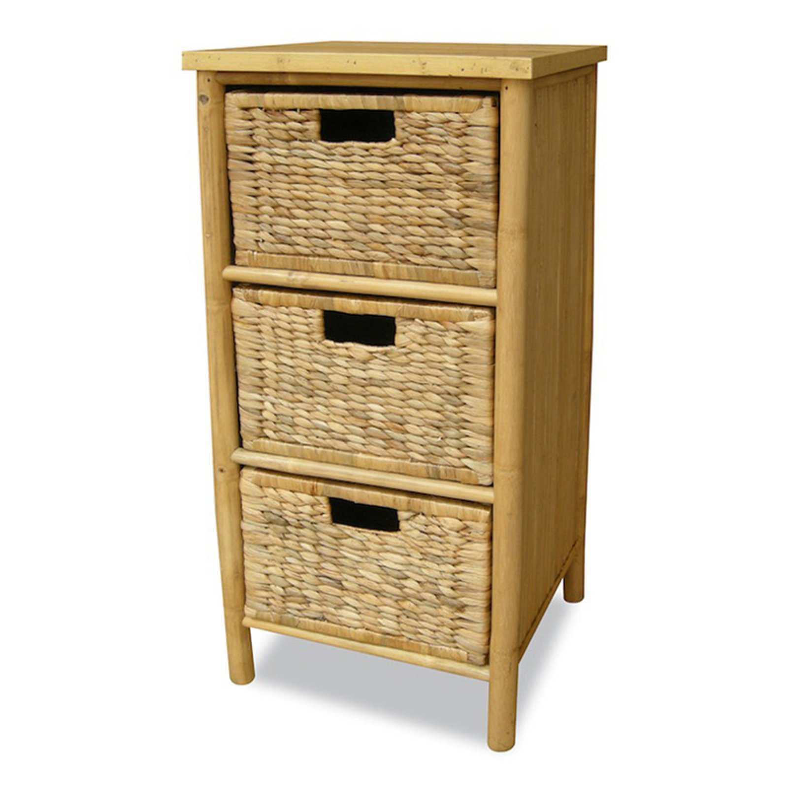Heather Ann Creations Naia 3 Drawer Bamboo Storage Cabinet