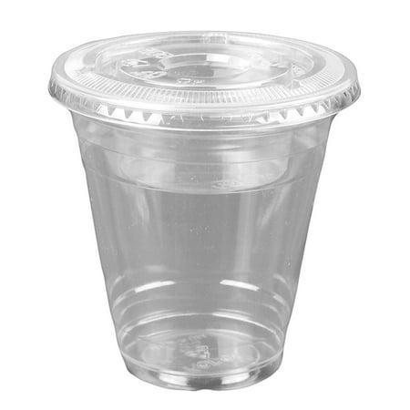 Cup Lids (12oz Clear Plastic Cups w/ 4oz Parfait Insert & Lids (3-piece) Dessert Cups (50 Count, Flat Lids - No)