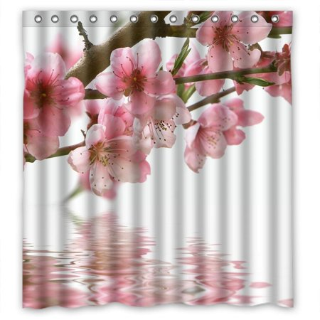 - Ganma Pink lofty plum blossom Shower Curtain Polyester Fabric Bathroom Shower Curtain 66x72 inches