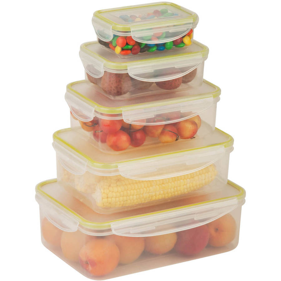 Honey Can Do 10-Piece Locking Food Container Set, Clear