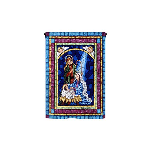 Breeze Decor Stained Glass Nativity 2-Sided Vertical Flag