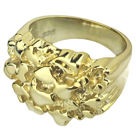 14K Gold Plated Over Solid 925 Sterling Silver Nugget Ring Heavy Hip Hop Men Size 11 14k Solid Gold Nugget