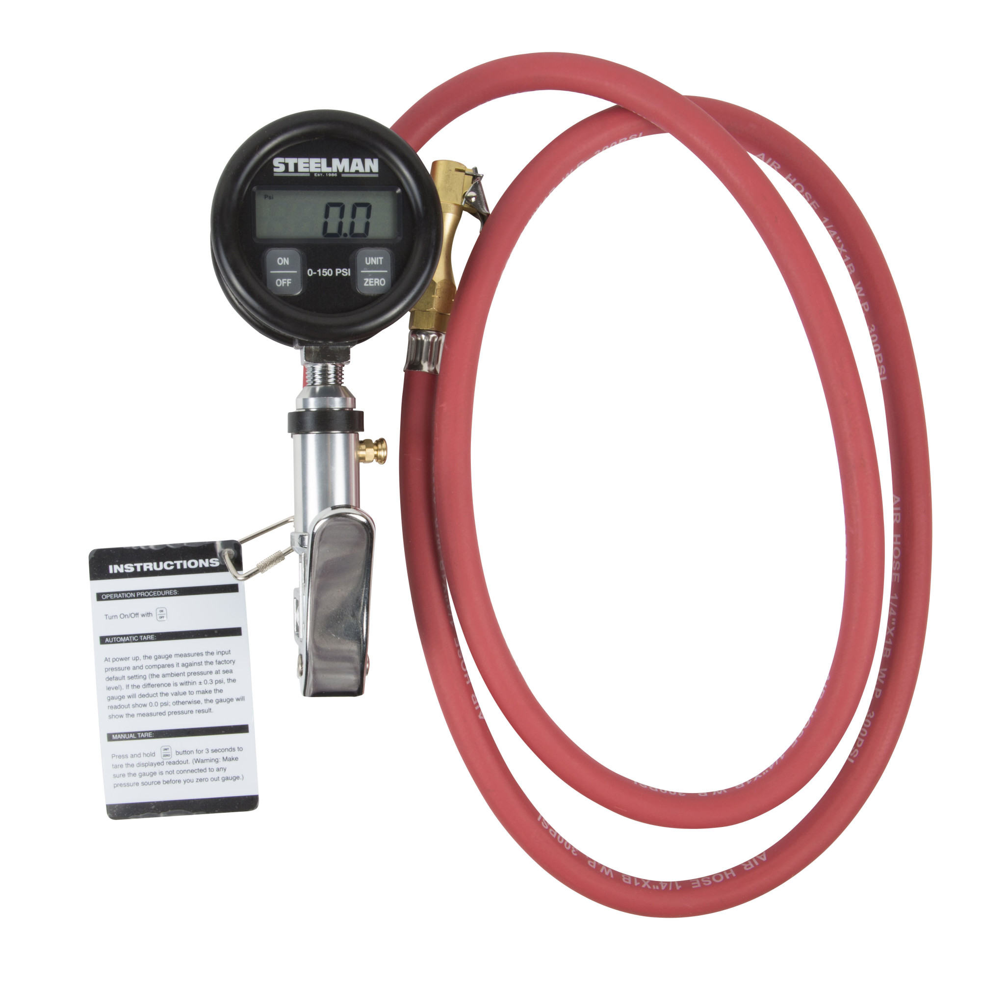 uxcell Motorcycle Red Single Head Tire Air Inflator Hose