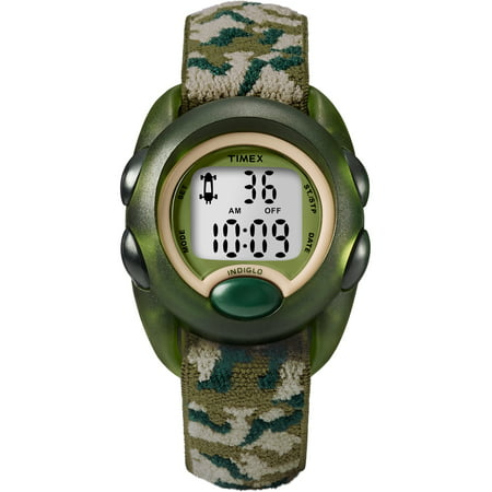 Boys Time Machines Digital Green Camouflage Watch, Elastic Fabric Strap