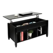 OTVIAP Lift Top Coffee Table Modern Furniture Hidden Compartment And Lift Tabletop Black