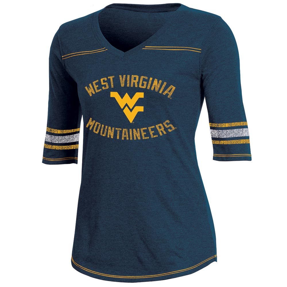 Women's Russell Navy West Virginia Mountaineers Fan Half-Sleeve V-Neck T-Shirt