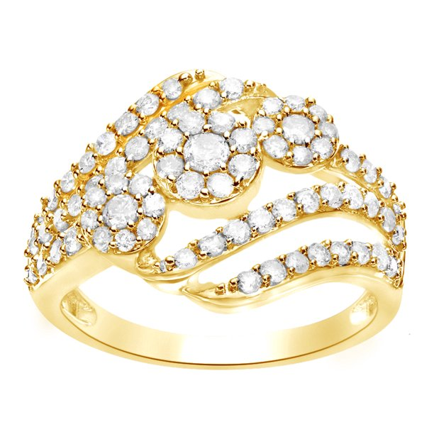 Round Shape White Natural Diamond Cluster Bypass Engagement Ring In 10K Solid Yellow Gold (1 Cttw)