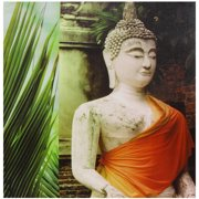 "Oriental Furniture Orange Draped Buddha Canvas Wall Art, 23.5""W x23.5""H"