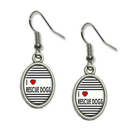 - I Love Heart Rescue Dogs Dangling Drop Oval Earrings