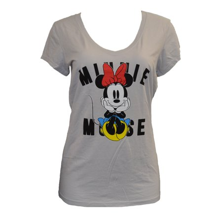 - Women's Juniors Minnie Mouse Light Gray V-neck Tee Shirt (X-Large) W12