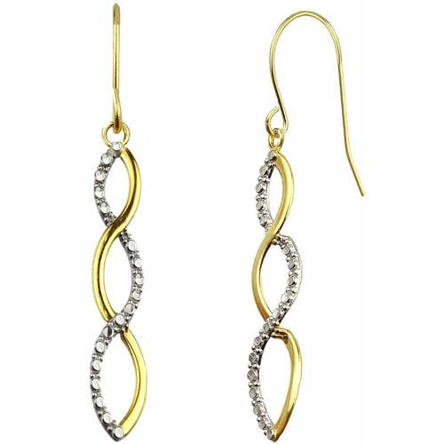 US GOLD Handcrafted 10kt Yellow Gold Diamond-Cut Ribbon Swirl Design Earrings