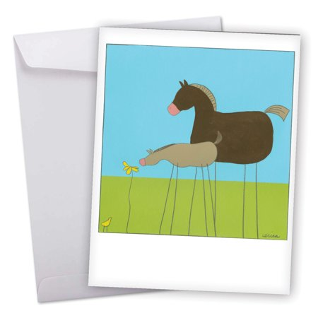 J6656CTYG Big Thank You Greeting Card: 'Stick Legs Thank You' Featuring Fun and Quirky Stylized Cartoon Horses Greeting Card with Envelope by The Best Card