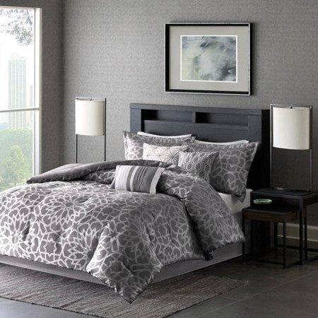 7-Piece Luxury Comforter Set in Grey Geometric Floral Print, Queen