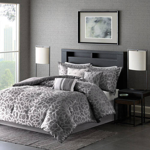 Luxury Comforter Set in Geometric Floral Print, Choose your Size and Color