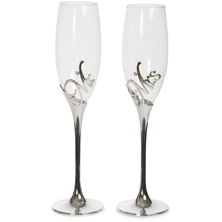 Pavilion Gift Company 85106 Mr and Mrs Champagne Flute Set with Zinc Stem](Mr And Mrs Champagne Flutes)
