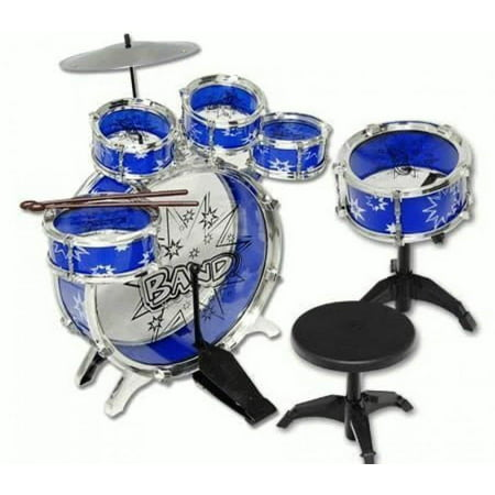 Educational Children's Blue 11 Piece Drum Set Musical Playet Instrument Toy, Introduce Your Kid's to (Educational Children's Toys)