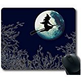 POPCreation Sweeping The Halloween Witches Fly Over The Moon Mouse pads Gaming Mouse Pad 9.84x7.87 inches