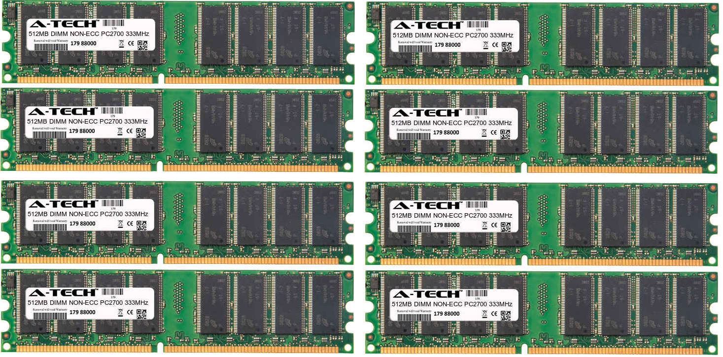 4GB Kit 8x 512MB Modules PC2700 333MHz NON-ECC DDR DIMM Desktop 184-pin Memory Ram
