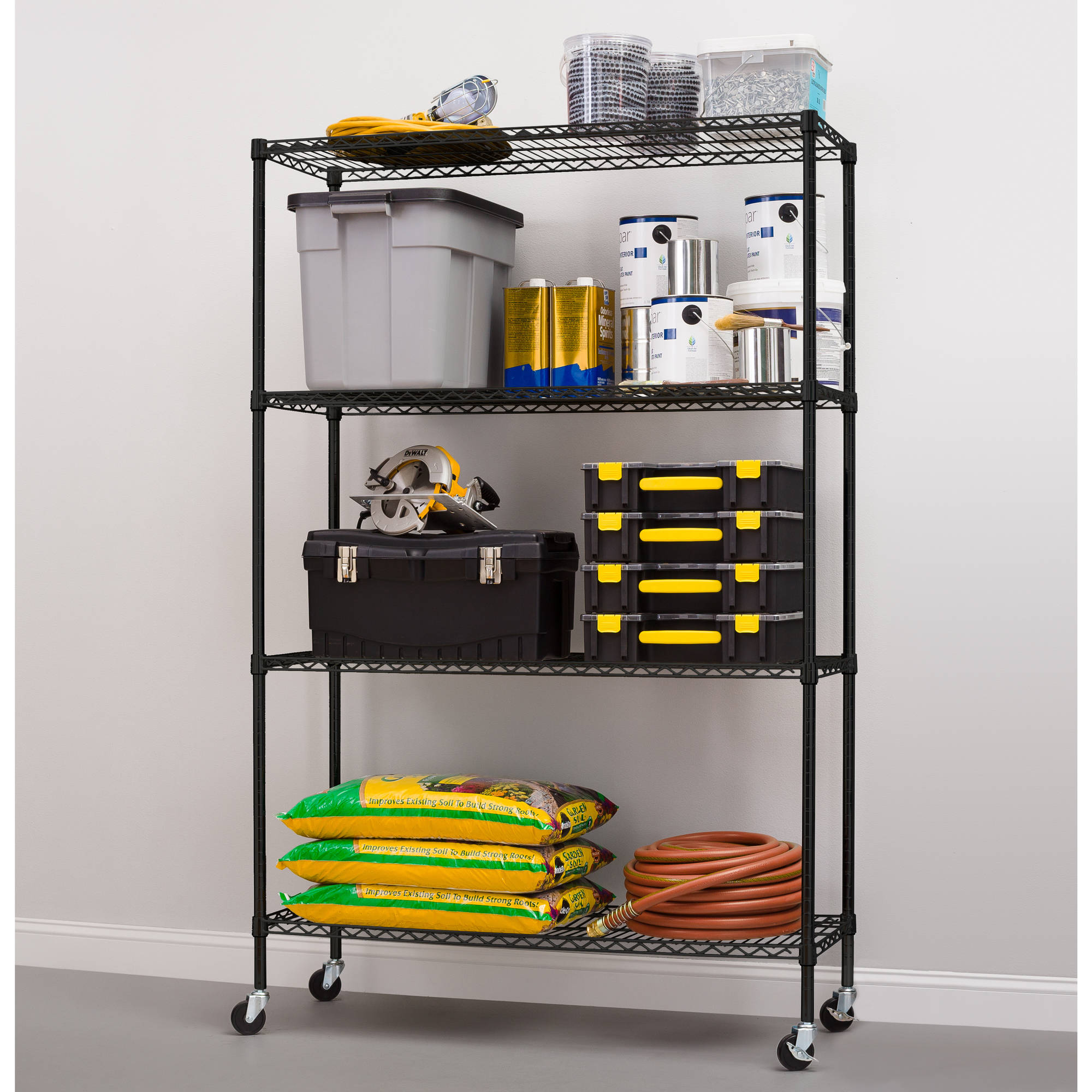 Hyper Tough 4-Shelf Commercial Grade Wire Shelving System with Bonus Shelf Liners and Casters, Black