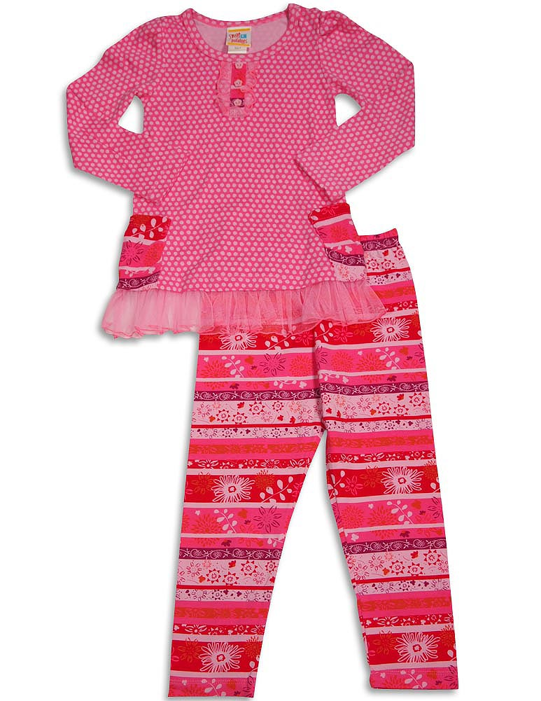 Sweet Potatoes - Little Girls Long Sleeve Legging Set size 2 thru 6X - 8 Fun Patterns, Boutique Brand - 30 Day Guarantee - FREE Shipping