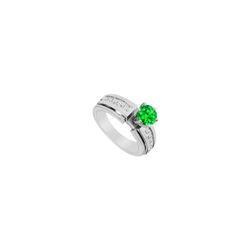 Jewelry 14K White Gold Channel Set Cubic Zirconia and Frosted Emerald Engagement Ring with 1.75 ct. TGW - image 2 of 2