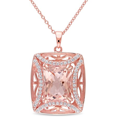 Tangelo 10-1/10 Carat T.G.W. Simulated Morganite and Cubic Zirconia Rose Rhodium-Plated Sterling Silver Halo Pendant, 18