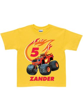 Personalized Blaze and the Monster Machines Birthday Yellow Boys' Youth T-Shirt