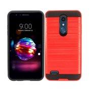 Phone Case for LG Phoenix Plus / LG Harmony 2 (Cricket) / LG K30 ( T-Mobile ) / LG Premier Pro 4G LTE L413DL (TracFone) Dual layered Slim Brush Texture Cover (Slim Brush Red-Black TPU)