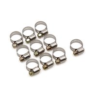 10 Pcs Stainless Steel Car Adjustable Hose Clamps Fuel Line Worm Clips 9-16mm