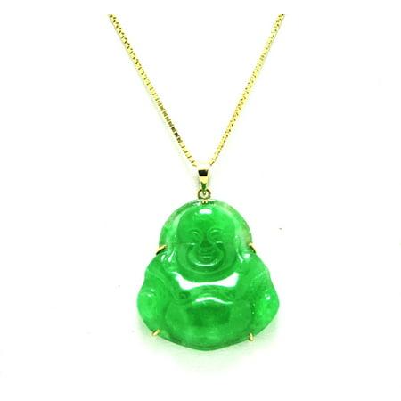 10K Yellow Gold Green Natural Jade Buddha Charm