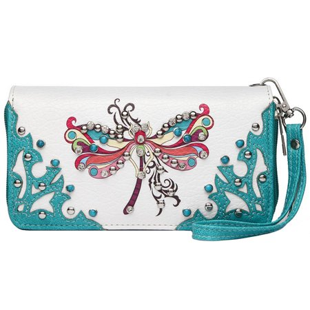 - Western Wallet Wristlet Crossbody Double Zip Around  Purses Women Turquoise