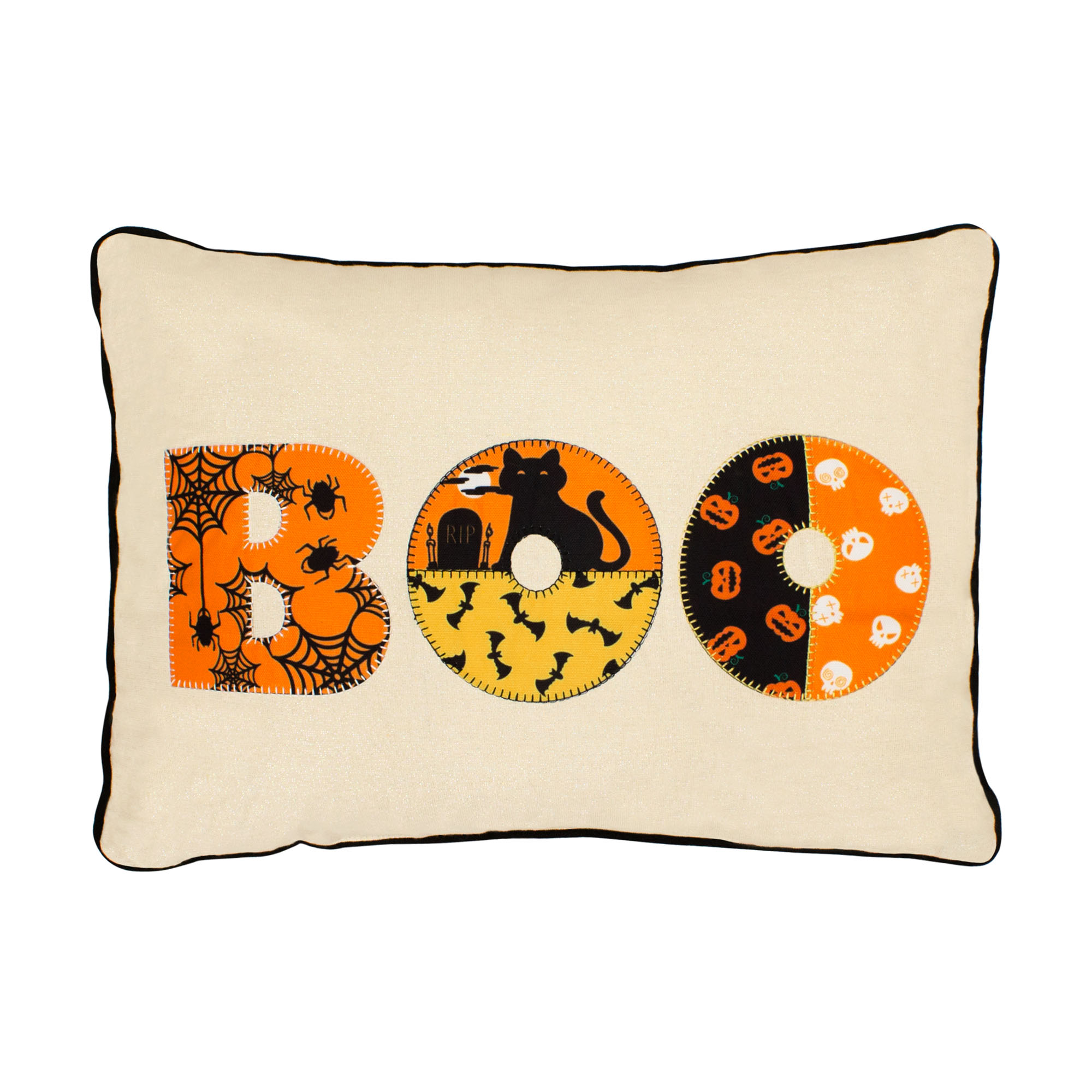 Boo Embroidred Halloween Pillow